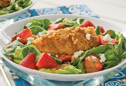 Chicken Cutlet Salad with Strawberry Balsamic Dressing