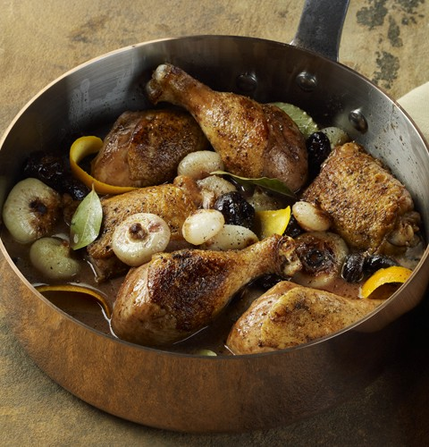 Chicken Drumsticks and Thighs with Prunes and Onions in Marsala Orange Sauce