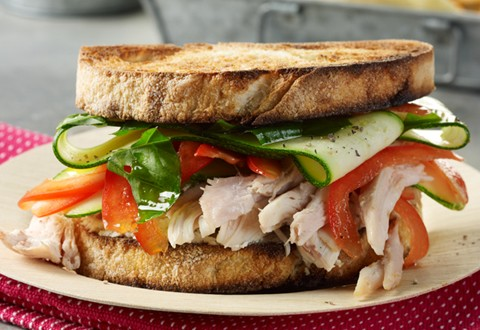 Chicken Sandwiches with Lemon-Basil Zucchini and Boursin