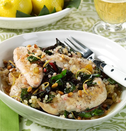 Chicken Tenders with Swiss Chard and Israeli Couscous