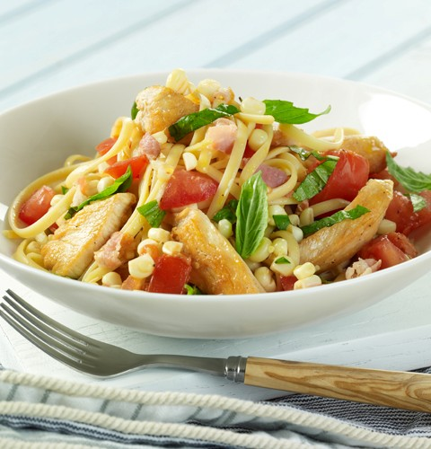 Linguini with Chicken, Corn and Summer Tomatoes