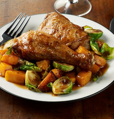 Pan Roasted Maple Dijon Chicken with Butternut Squash and Brussels Sprouts