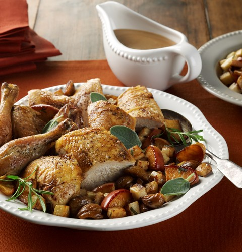Roasted Chicken, Celery Root, Apples and Chestnuts with Apple Cider Pan Gravy
