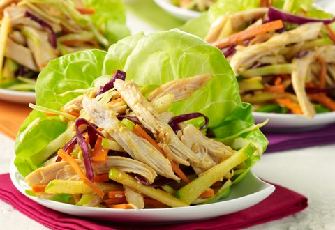 Ginger-Curry Chicken Lettuce Wraps