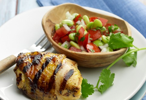 Curry-Lime Chicken Thighs with Tomato-Lima Bean Salsa