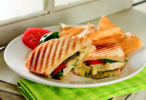Grilled Chicken Sandwiches with Pesto Brie and Arugula