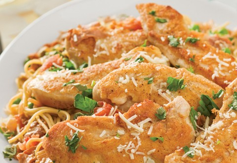 Chicken Tenders Over Pasta with Creamy Slow-Roasted Tomato Sage Sauce