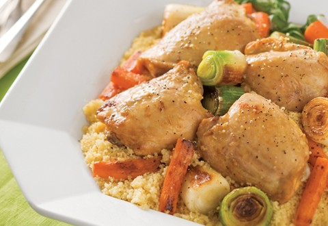 Chicken Thighs Braised with Spring Leeks, Carrots, and Tarragon