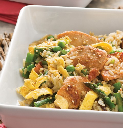 Stir Fried Chicken with Rice with Spring Vegetables