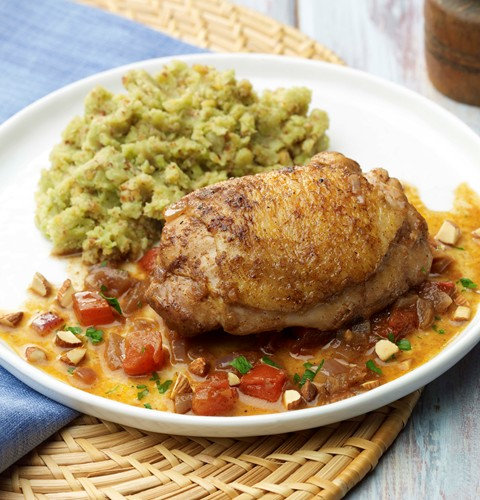 Tomato Roasted Chicken Thighs with Lima Bean Puree